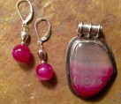 Two Tone Magenta Agate & Sterling Silver Set {No. 2}