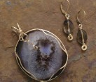 Purple & Brown Drusy Agate  Wire Wrap Set {No. 6}