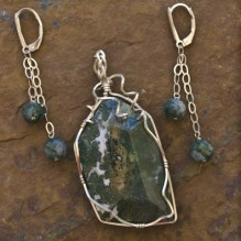 Ocean Jasper & Moss Agate Wire Wrap Set {No. 11}
