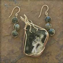Ocean Jasper Drusy & Moss Agate Wire Wrap Set {No. 12}