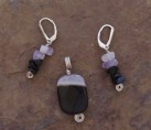 Black Drusy Agate with Onyx & Amethyst Set {No. 15}