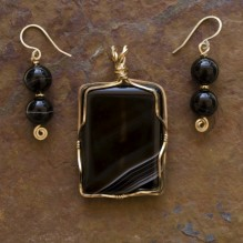 Sardonyx & Onyx Wire Wrap Set {No. 17}