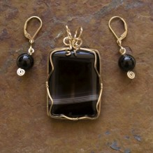 Sardonyx & Onyx Wire Wrap Set  {No. 18}