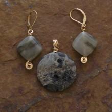 Kambaba Jasper & Seaweed Stone Set {No. 30}