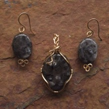 Black Labradorite Wire Wrap Set {No. 32}