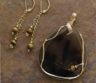 Sliced Obsidian Tigereye Gold Hand Wrapped Wire Set {No. 38}