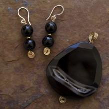 Sliced Obsidian Drusy Wire Wrap Set {No. 39}