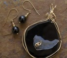 Sliced Obsidian Drusy Wire Wrap Set {No. 40}