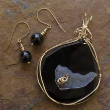 Sliced Obsidian Drusy Wire Wrap Set {No. 40}