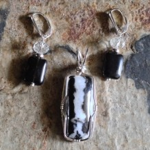 White & Black Snowflake Obsidian Sterling  {No. 60}