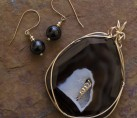 Sliced Obsidian Drusy Wire Wrap Set {No. 41}