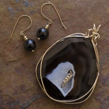 Sliced Obsidian Drusy Wire Wrap Set {No. 41}