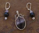 Black Drusy Agate with Onyx & Amethyst Wire Wrap Set {No. 16}