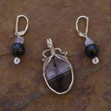 Black Drusy Agate with Onyx & Amethyst Wire Wrap Set {No. 16}